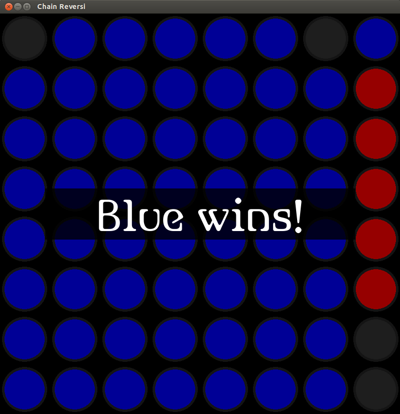 Chain Reversi (after blue has won)